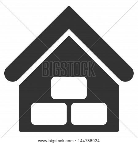 Warehouse icon. Vector style is flat iconic symbol, gray color, white background.