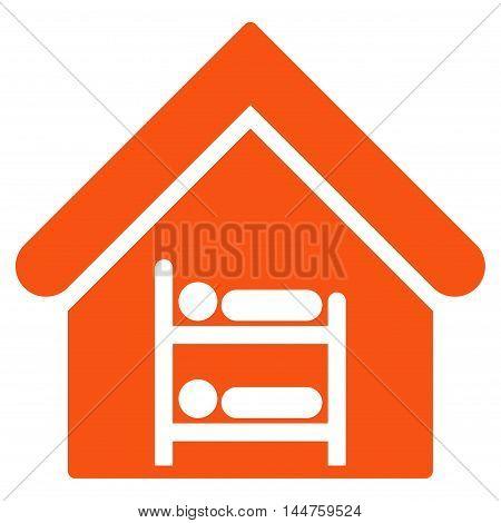 Hostel icon. Vector style is flat iconic symbol, orange color, white background.