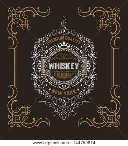 Old  label design for Whiskey and Wine label, Restaurant banner, Beer label.