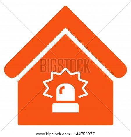 Realty Alarm icon. Vector style is flat iconic symbol, orange color, white background.