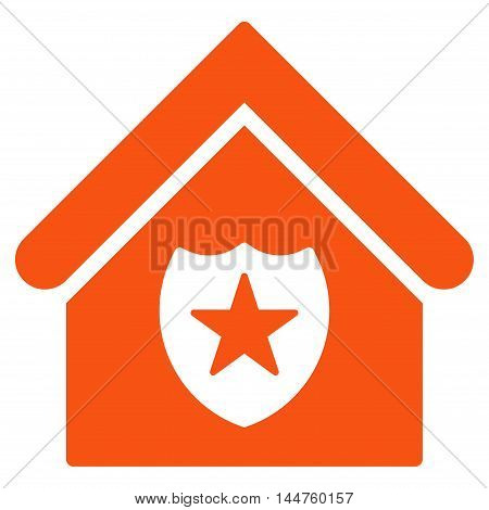 Realty Protection icon. Vector style is flat iconic symbol, orange color, white background.