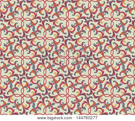 Floral Seamless Pattern. Abstract  Geometric Background. Floral Tile Ornamental Texture With Leaves.