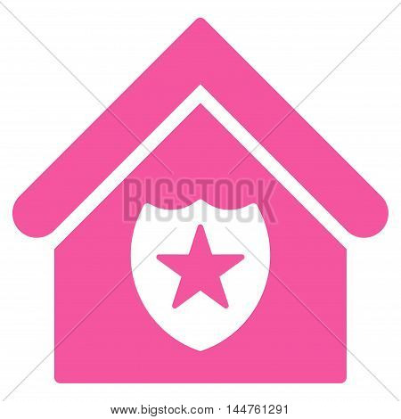 Realty Protection icon. Vector style is flat iconic symbol, pink color, white background.