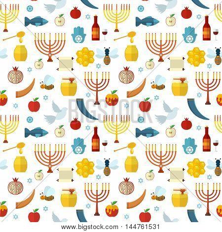Rosh Hashanah Shana Tova seamless pattern vector illustration