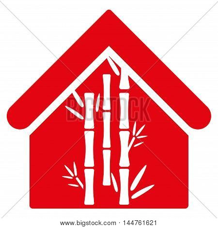 Bamboo House icon. Vector style is flat iconic symbol, red color, white background.
