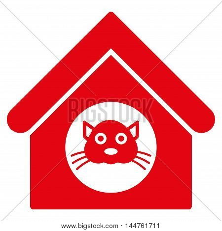 Cat House icon. Vector style is flat iconic symbol, red color, white background.