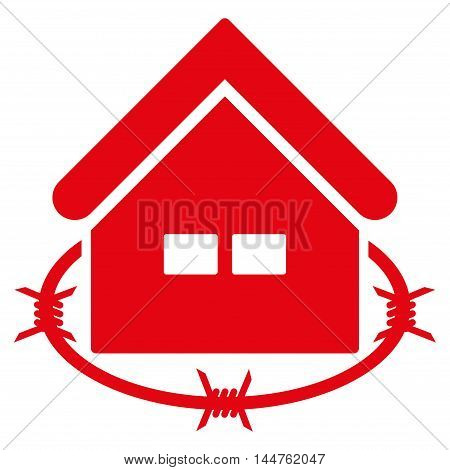 Prison Building icon. Vector style is flat iconic symbol, red color, white background.