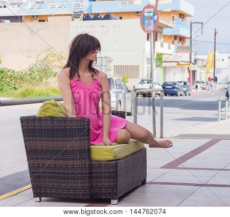 Female Mannequin In A Nightgown On The Sofa