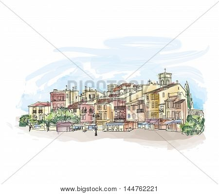 Old city street with shops and cafe. European cityscape. Cityscape - houses buildings and tree on alleyway. Old city view. Medieval european watercolor landscape. Pencil drawn colored sketch. Cote d'Azur Cassis skyline.