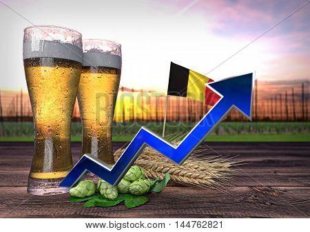 rising beer consumption in Belgium - 3D render