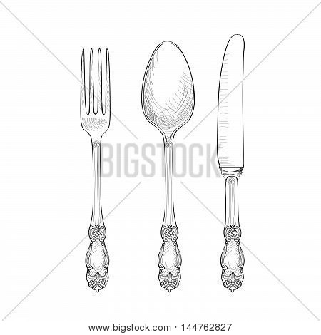 Fork Knife Spoon sketch set. Cutlery hand drawing collection. Catering engraved vector illustration. Restraunt symbol
