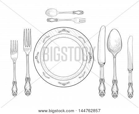 Table setting set. Fork Knife Spoon plate sketch set. Cutlery hand drawing collection. Catering engraved  illustration. Restraunt service. Banquet still life