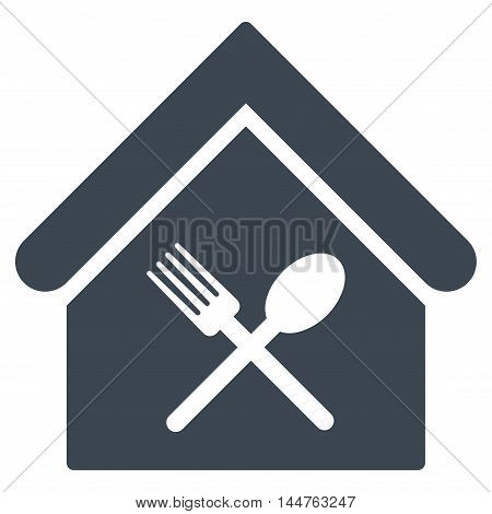 Food Court icon. Vector style is flat iconic symbol, smooth blue color, white background.