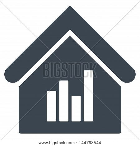 Realty Bar Chart icon. Vector style is flat iconic symbol, smooth blue-grey color, white background.