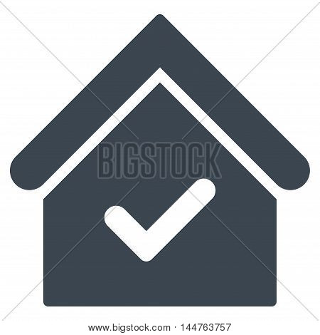 Valid House icon. Vector style is flat iconic symbol, smooth blue color, white background.