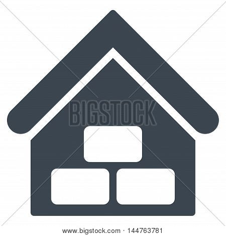 Warehouse icon. Vector style is flat iconic symbol, smooth blue color, white background.