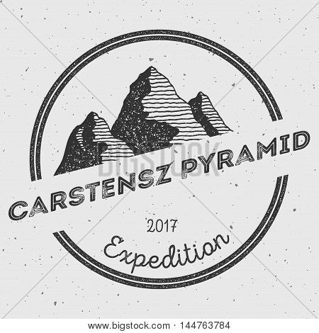 Carstensz Pyramid In Sudirman Range, Indonesia Outdoor Adventure Logo. Round Expedition Vector Insig