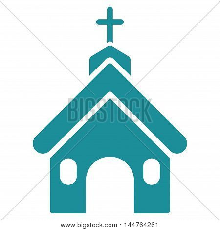 Church icon. Vector style is flat iconic symbol, soft blue color, white background.