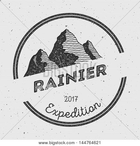 Rainier In Cascade Range, Usa Outdoor Adventure Logo. Round Expedition Vector Insignia. Climbing, Tr