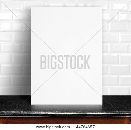 Black White Paper Poster Lean At White Ceramic Tiles Wall And Marble Table,template Mock Up For Addi