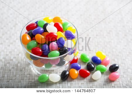 Colorful Jelly beans in a glass bowl