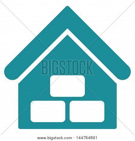 Warehouse icon. Vector style is flat iconic symbol, soft blue color, white background.
