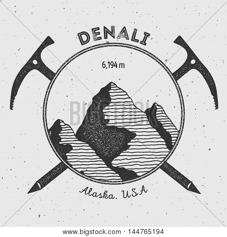 Denali In Alaska, Usa Outdoor Adventure Logo. Climbing Mountain Vector Insignia. Climbing, Trekking,