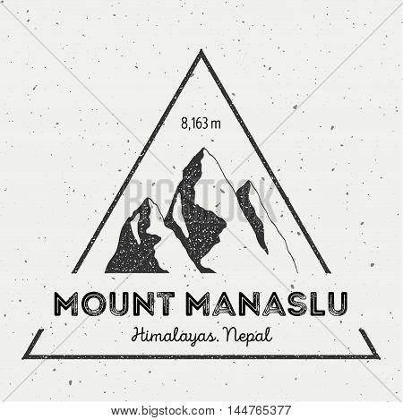 Manaslu In Himalayas, Nepal Outdoor Adventure Logo. Triangular Mountain Vector Insignia. Climbing, T