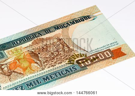 10000 Mozambican escudos bank note. Mozambican escudo is former currency of Mozambique