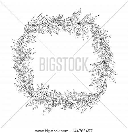 Floral background. Engraving leaves flourish border. Plam leaf branch frame illustration