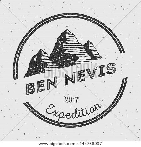 Ben Nevis In Grampian Mountains, Great Britain Outdoor Adventure Logo. Round Expedition Vector Insig