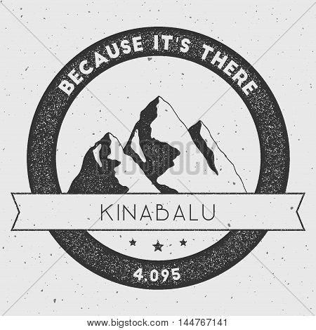 Kinabalu In Crocker Range, Malaysia Outdoor Adventure Logo. Round Climbing Vector Insignia. Climbing