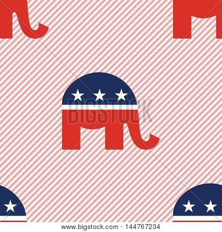 Republican Elephants Seamless Pattern On Red Stripes Background. Usa Presidential Elections Patrioti
