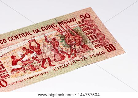 50 pesos bank note of Guine Bissau. Peso is the former currency of Guine Bissau