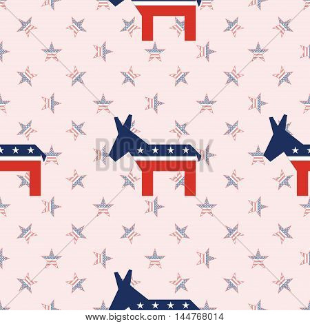 Broken Democrat Donkeys Seamless Pattern On National Stars Background. Usa Presidential Elections Pa