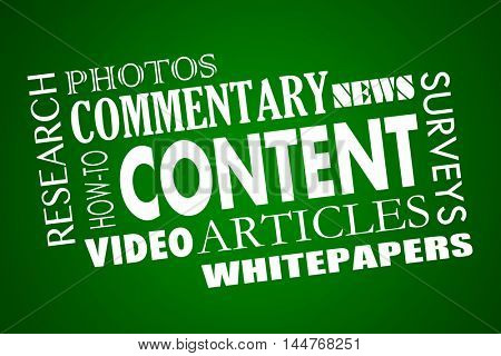 Content Marketing Articles Video Whitepapers Word Collage 3d Illustration