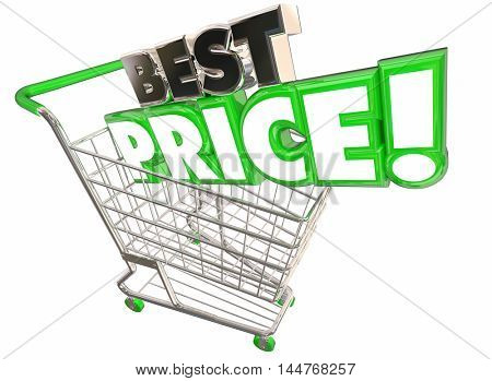 Best Price Shopping Cart Lowest Sale Deal 3d Illustration
