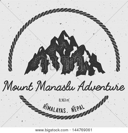 Manaslu In Himalayas, Nepal Outdoor Adventure Logo. Round Hiking Vector Insignia. Climbing, Trekking