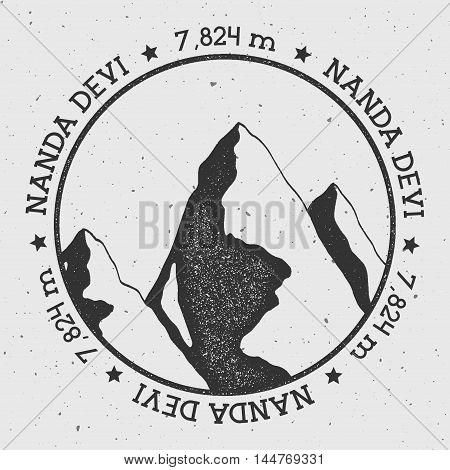 Nanda Devi In Himalayas, India Outdoor Adventure Logo. Round Stamp Vector Insignia. Climbing, Trekki