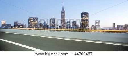 cityscape and skyline of san francisco from empty asphalt road