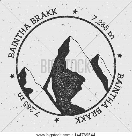 Baintha Brakk In Panmah Muztagh, Pakistan Outdoor Adventure Logo. Round Stamp Vector Insignia. Climb