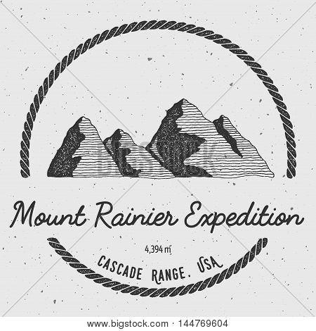 Rainier In Cascade Range, Usa Outdoor Adventure Logo. Round Trekking Vector Insignia. Climbing, Trek