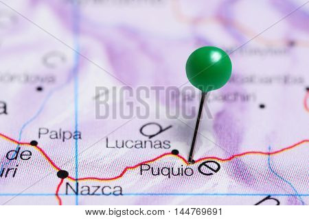 Puquio pinned on a map of Peru