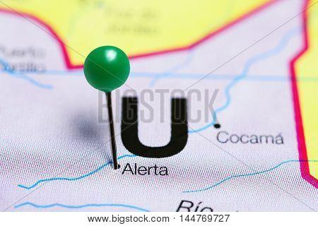 Alerta pinned on a map of Peru