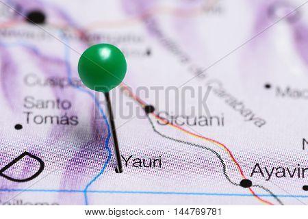 Yauri pinned on a map of Peru
