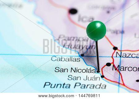 San Nicolas pinned on a map of Peru