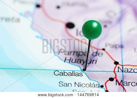 Caballas pinned on a map of Peru