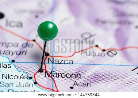 Marcona pinned on a map of Peru