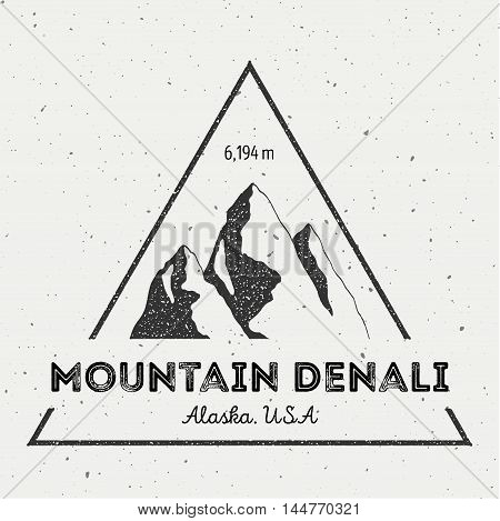 Denali In Alaska, Usa Outdoor Adventure Logo. Triangular Mountain Vector Insignia. Climbing, Trekkin