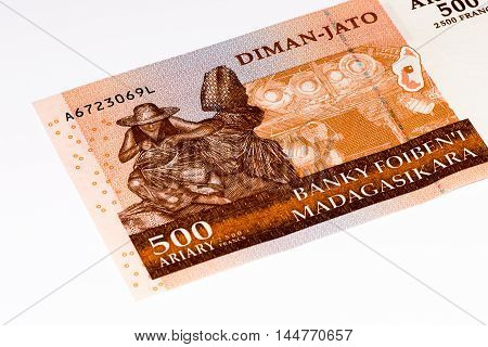 500 Malagasy ariary bank note of Madagascar. Malagasy ariary is the national currency of Madagascar